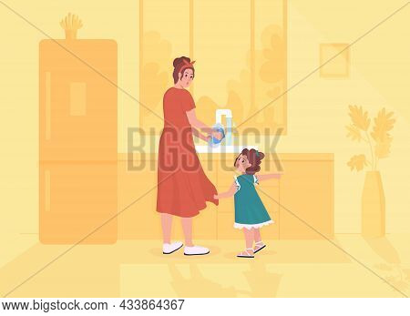 Daugther Distracts Parent Flat Color Vector Illustration. Mom Busy Doing Housework. Toddler Demands