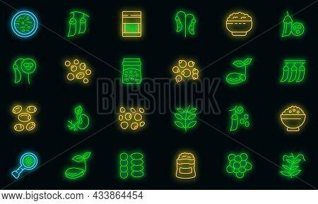 Lentil Icon. Outline Lentil Vector Icon Neon Color On Black
