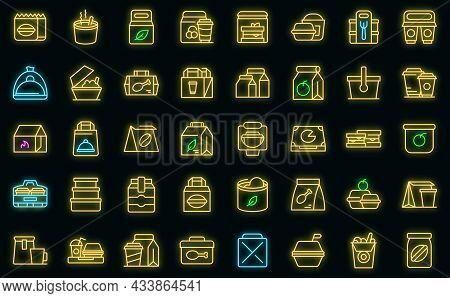 Take Away Food And Drinks Icon. Outline Take Away Food And Drinks Vector Icon Neon Color On Black