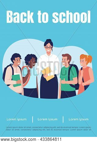 Back To School Poster Flat Vector Template. Teacher With Students. Tutor With Pupils. Brochure, Book