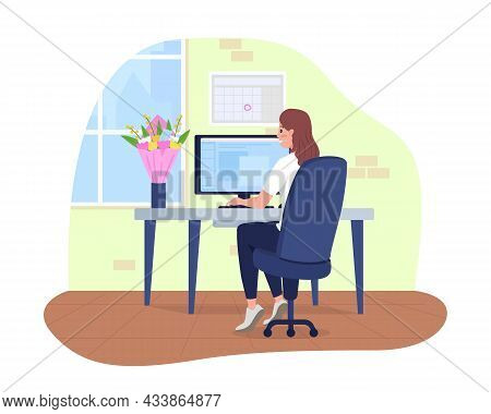Office Employee With Gifted Bouquet 2d Vector Isolated Illustration. Female Employee Received Flower