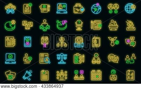 Candidate Icons Set Outline Vector. Work Man Team. Agreement Job