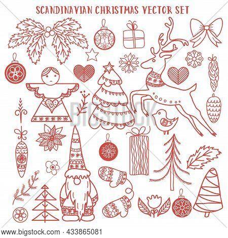 Scandinavian Christmas Vector Doodle Set. Angel, Gnome, Reindeer, Christmas Trees, Bird, Mittens, Ch