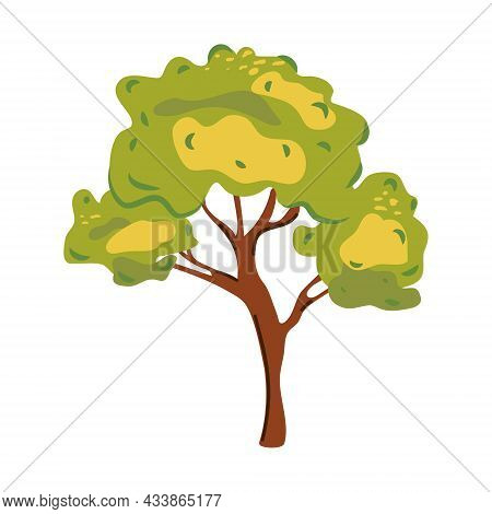 Tree In A Flat Style. Cartoon Tree With Green Crown And Brown Trunk Isolated On White Background. Mo