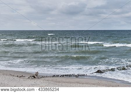 Beautiful Seascape With Old Wooden Breakwater, Waves, Sandy Beach And Cloudy Sky. Baltic Sea, Curoni