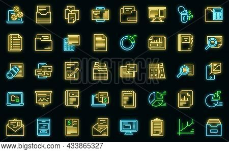 Record Keeping Icons Set Outline Vector. Contract Budget. Invoice Evaluation