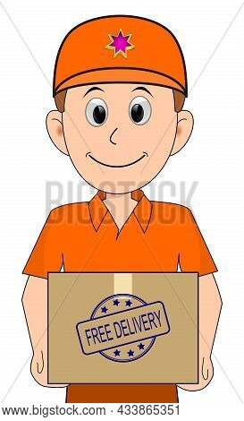 Friendly Courier With Orange Shirt Delivering A Parcel With Free Delivery Rubber Stamp -illustration