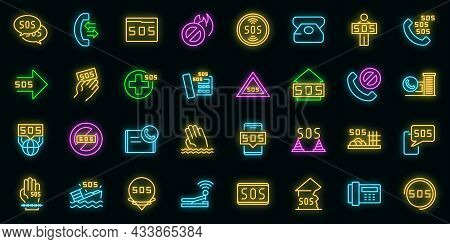 Sos Icons Set. Outline Set Of Sos Vector Icons Neon Color On Black