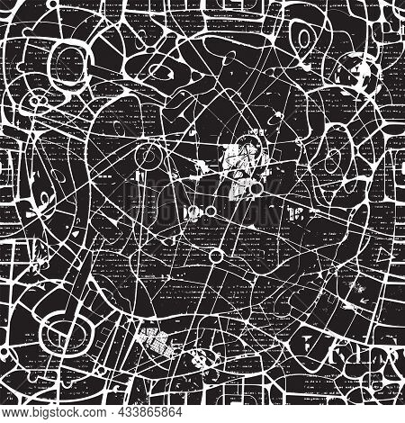 Seamless Pattern In The Form Of An Abstract Black And White City Map. Vector Background With A Schem