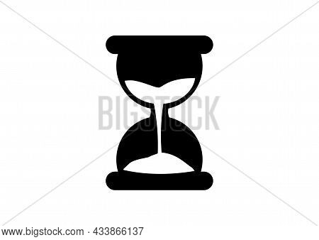 Sand Timer Black And White Vector Image On White Background.   Vector Image Of Sand Timer On White B
