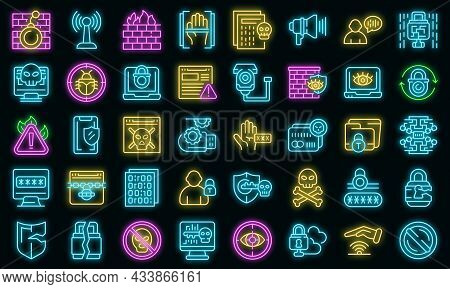 Stop Theft Icons Set Outline Vector. Anti Terrorist. Hacker Attack