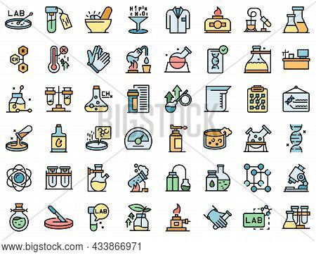 Laboratory Research Icons Set Outline Vector. Dna Science. Microscope Chemistry