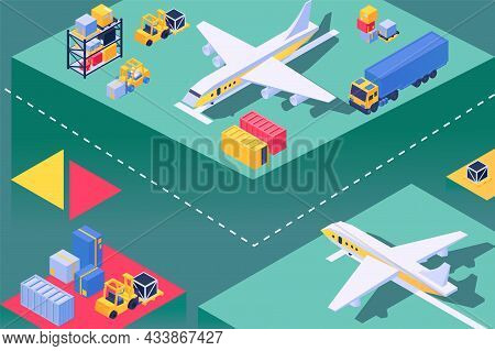 Transport Plane At Airport, Loading Aircraft Service, Isometric Vector Illustration. Airplane Transp