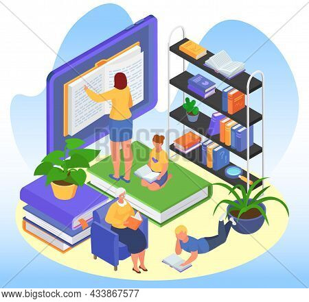 Isometric Education Concept, Vector Illustration, Tiny Man Woman Character Read Book In Library, Get