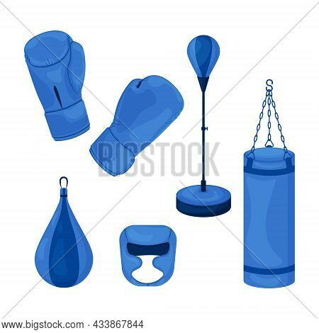A Blue Boxing Set Consisting Of A Punching Bag, Gloves For Martial Arts And A Protective Helmet For