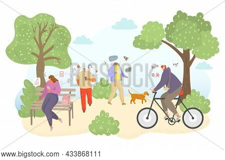 Outdoor Study Online, Vector Illustration, Flat People Man Woman Character Get Education In Internet