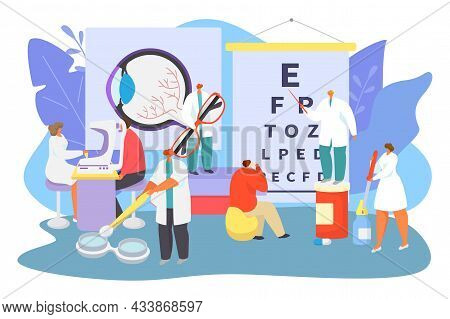 Ophthalmology Medical Care Concept, Vector Illustration. Tiny Ophthalmologist Doctor Character Help