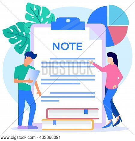 Flat Style Vector Illustration Of A Paper Notebook, Writing Paperwork, Blank Checklist, Organizer, A