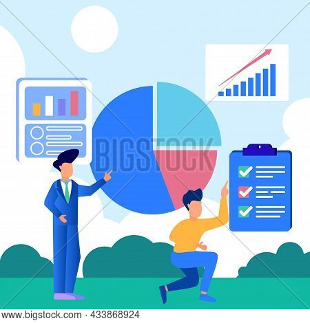 Infographic Vector Illustration. Growth Graph Concept With People Character. Abstract Blank Pie Char