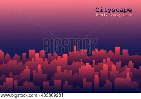 Horizontal Morning Or Evening Landscape Of Modern City. Cityscape With Sunrise Or Sunset Background.
