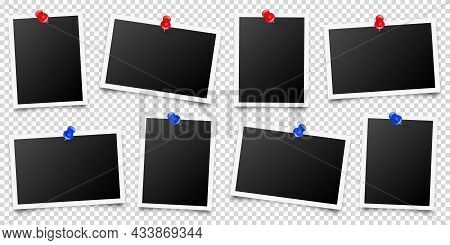 Realistic Blank Photo Card Frame, Film Set. Retro Vintage Photograph With Red And Blue Push Pins. Di