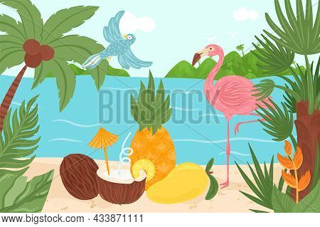 Tropical Exotic Element Design, Vector Illustration, Summer Paradise At Hawaii, Bird, Flamingo At Oc