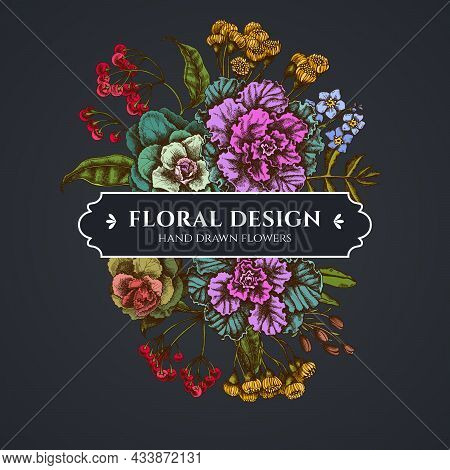 Floral Bouquet Dark Design With Wax Flower, Forget Me Not Flower, Tansy, Ardisia, Brassica, Decorati