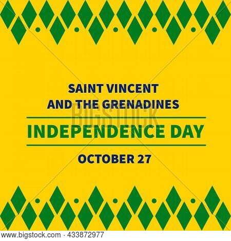 Saint Vincent And The Grenadines Independence Day Typography Poster. National Holiday Celebrated On