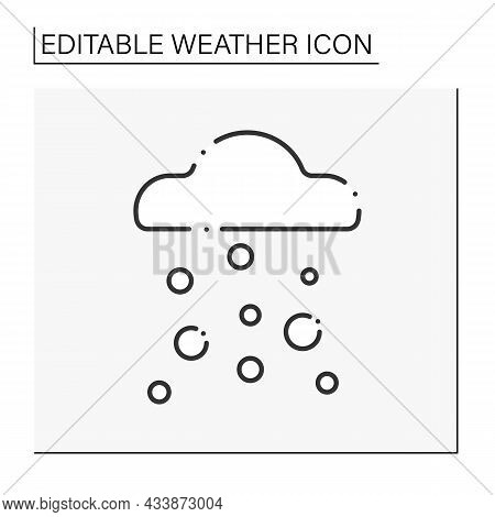 Hail Line Icon. Mixed Rain With Frozen Drops. Meteorology. Falling Hailstones From Clouds. Rainfall.