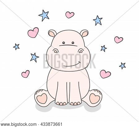 Little Hippo On A White Background With Small Blue Stars And Pink Hearts. Cute Smiling Hippopotamus,
