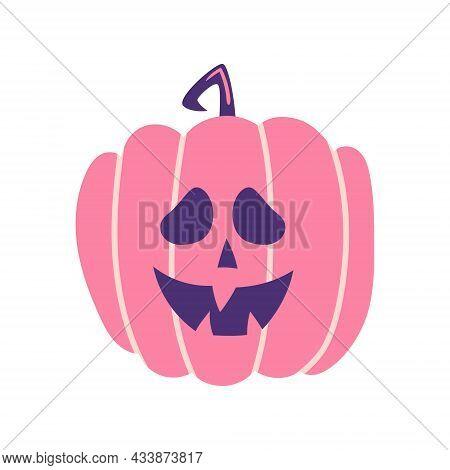 Spooky Pumpkin Cartoon Vector Illustration Isolated On White Background. Spooky Halloween Decoaratio