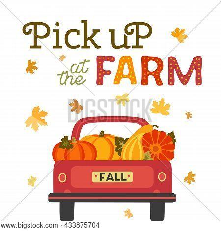 Pick Up Pumpkins At Farm Flat Color Vector Banner. Fall Season Pumpkin Patches Cartoon Design Elemen