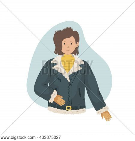 Vector Illustration Of A Girl In A Winter Sheepskin Coat With Fur. Winter Clothing.