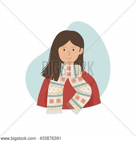 Vector Illustration Of A Girl In A Winter Knitted Scarf. Winter Clothing.