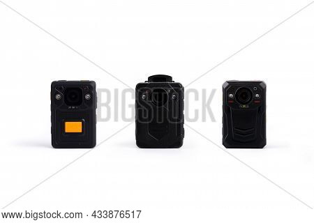 Three Different Kinds Of Officer Body Cam. Personal Wearable Video Recorders, Portable Dvr, Camera I