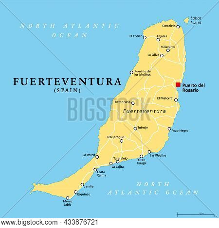 Fuerteventura Island, Political Map, With Capital Puerto Del Rosario. One Of The Canary Islands, An