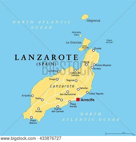 Lanzarote, Political Map, With Capital Arrecife. Northernmost And Easternmost Island Of Canary Islan