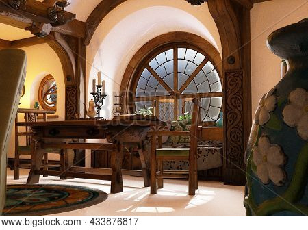 3d Computer Graphics Of A Interior Of A Hobbit House In Hobbiton
