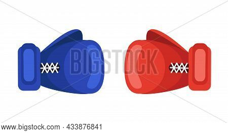Red And Blue Boxing Gloves Isolated On White Background. Two Boxing Gloves In Collision. Sport Conce
