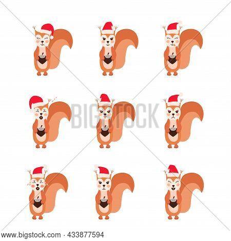 Squirrel Emoji Santa Hat Set Dd Ww