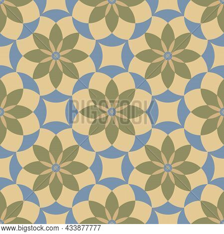 Medieval Rose Stylized Seamless Vector Pattern Background. Azulejo Style Backdrop With Historical Fo