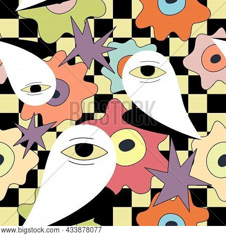Surreal Repeated Pattern With Eyes Over Checkerboard. Vector Seamless Illustration. Modern Flat And