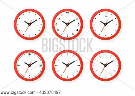 Flat Vector Red Wall Office Clock Icon Set Isolated. White Dial. Design Template Of Wall Clock. Time