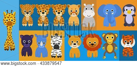 Large Set Of Cute Animals Such As Cheetah, Leopard, Jaguar, Lynx, Tiger, Lion, Elephant, Hippo, Rhin
