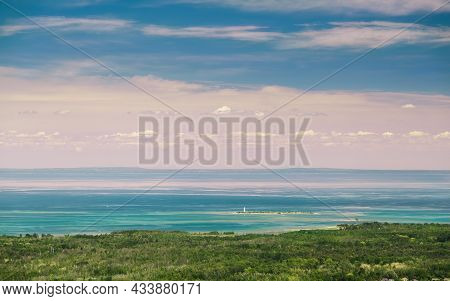 Grey County, Ontario, Magnificent Amazing View On Georgian Bay, Lake Huron With Light House Island I