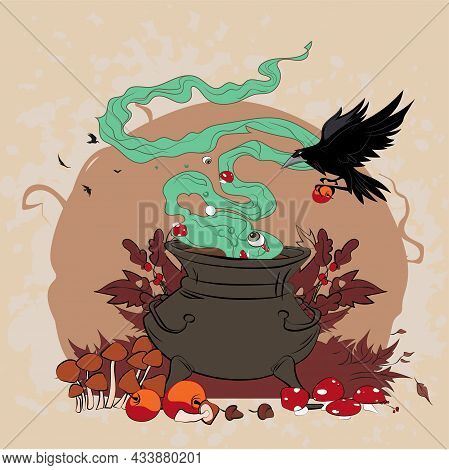 Poster In Style Of Holiday All Evil Halloween. Copper Pot With Boiling Water, Hat, Broom. Vector Car