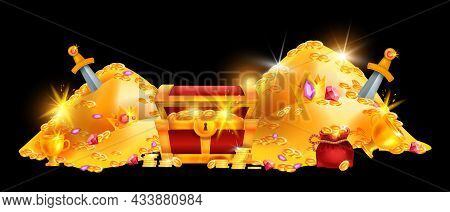 Gold Treasure Pile, Vector Pirate Coin Chest, Red Money Bag, Medieval Hidden Jewel Crown Game Backgr