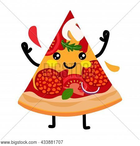 A Slice Of Pizza Character With Salami Onions Tomatoes And Olives. Vector Illustration. A Concept Fo