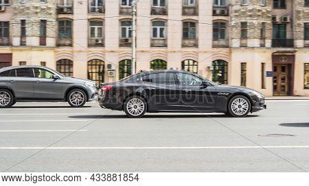 Maserati Quattroporte Vi M156 Rides On A Street. 5-door Premium Sedan Motor Car Rushes On The Road W