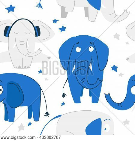 Seamless Patterns. Concept For A Child. Blue Elephant, Gray Elephant With Headphones On Twine, Stars